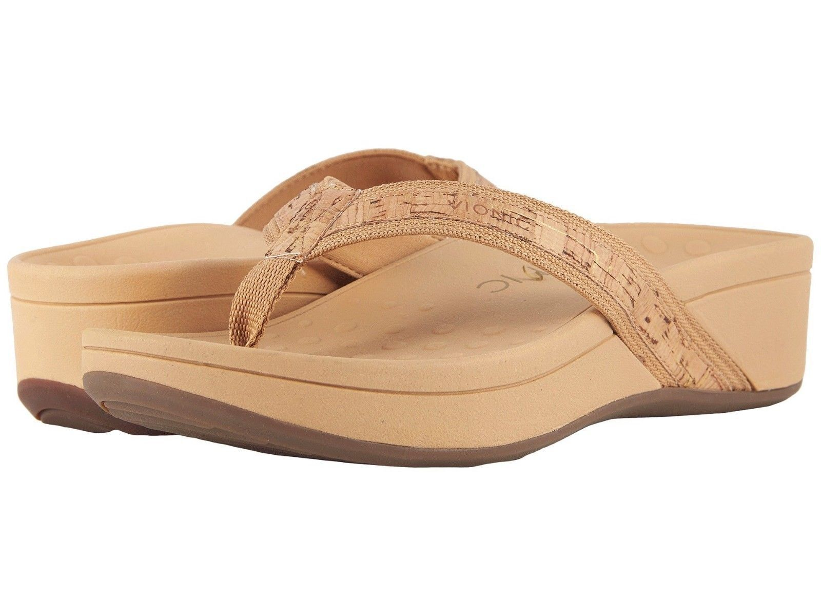 NIB Women's Vionic High Tide Platform Flip Flops Thong Sandals gold Cork 8 tan
