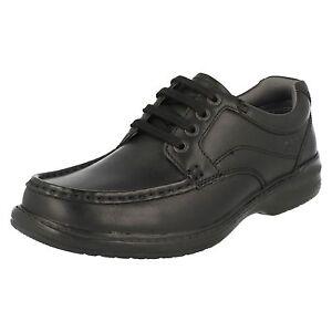 Hombre-Clarks-Keeler-Andar-Negro-Zapatos-de-Cuero-Casuales-con-Cordones
