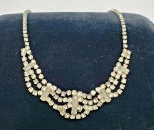 Vintage-Rhinestone-3-Tier-Necklace-Wedding-Prom-Bride
