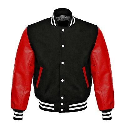 Letterman Baseball College Men Varsity Wool Jacket With Real Leather Sleeves