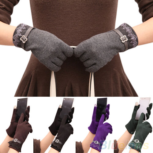 DELUXE TOUCH SCREEN SOFT WARM WEAVED KNIT WRIST-GLOVES SOFT COMFY FLORAL MITTENS