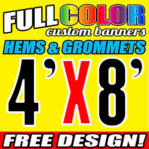 Custom 4' x 8' FT Banner 16oz Vinyl/Flex Outdoor premium Quality Advertise Sign