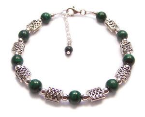 Sterling-silver-Malachite-CELTIC-bracelet-knotwork-green-gemstone-gem-stone