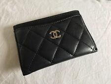 Chanel Classic Quilted Lambskin Cardholder Black Silver Hardware