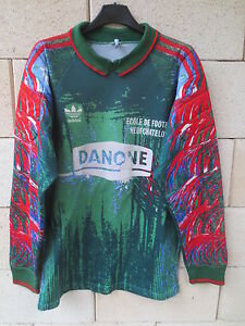 VINTAGE-Maillot-goal-ADIDAS-porte-n-1-NEUFCHATEL-shirt-Trefoil-trikot-Danone-M