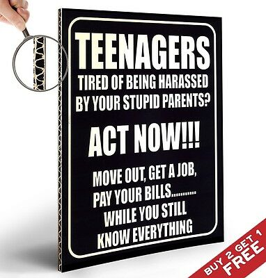 TEENAGER ACT NOW Retro Thick Poster * A4 SIGN VINTAGE WALL DECOR Gift Boys Girls