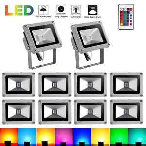 10X-10W-LED-RGB-Fluter-Flutlicht-Aussenleuchten-Strahler-Scheinwerfer-Dimmbar