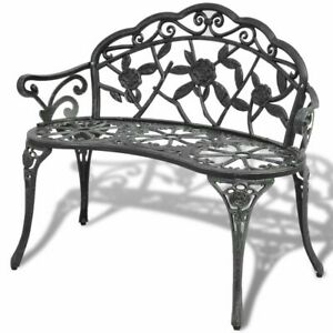 vidaXL-Garden-Bench-100cm-Cast-Aluminium-Green-Outdoor-Patio-Park-Seat-Chair