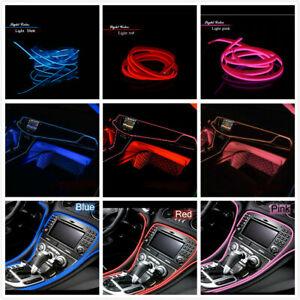 2M 12V White LED Car Auto Interior Decorative Atmosphere Wire Strip Light Lamp
