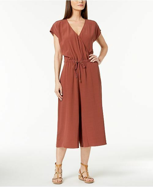 268 Eileen Fisher Russet  Washable  Wide Leg  Crop Jumpsuit XS