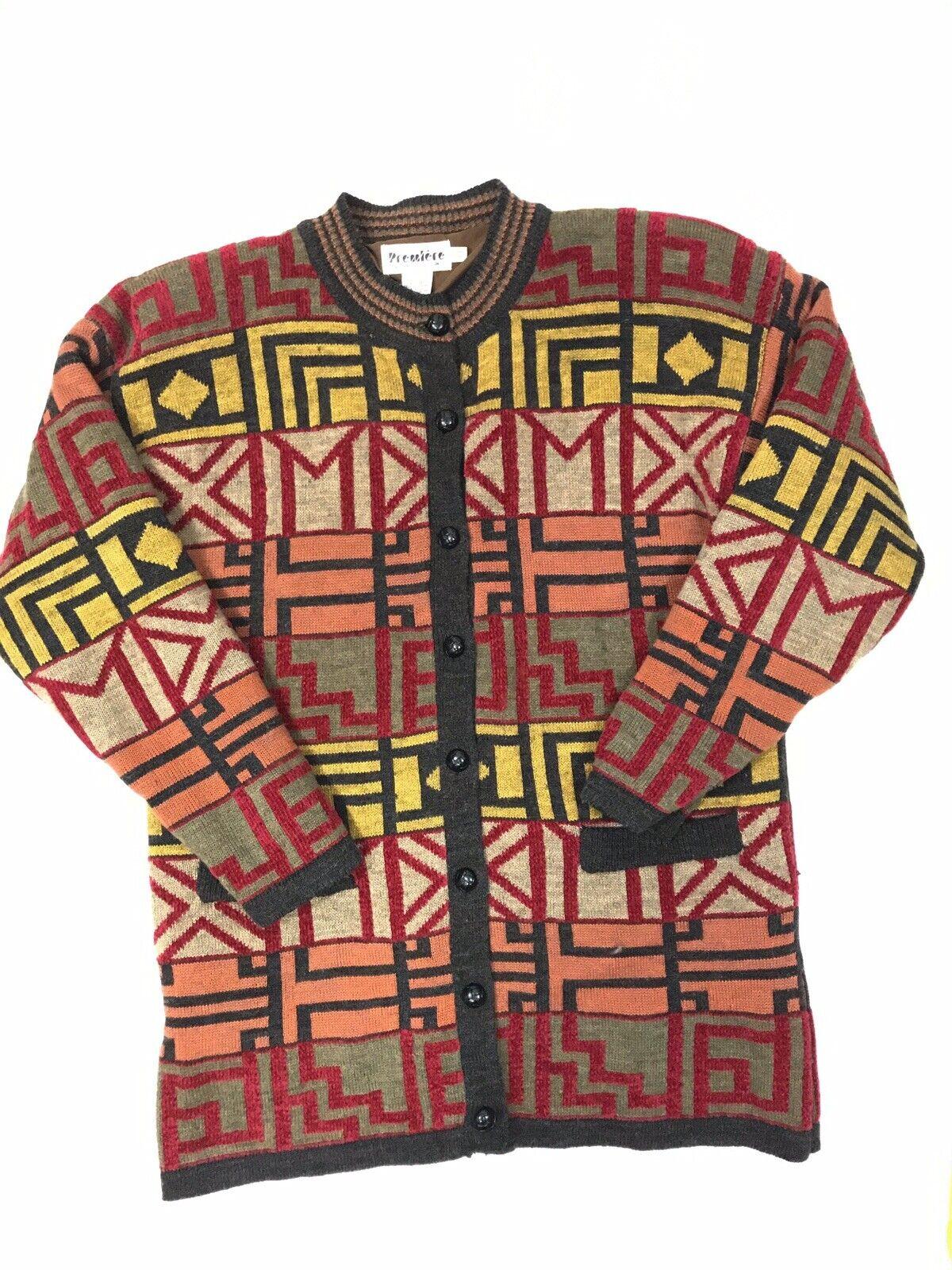 Vintage Premiere Small Sweater Coat Lined Cardigan Southwestern Geometric Aztec