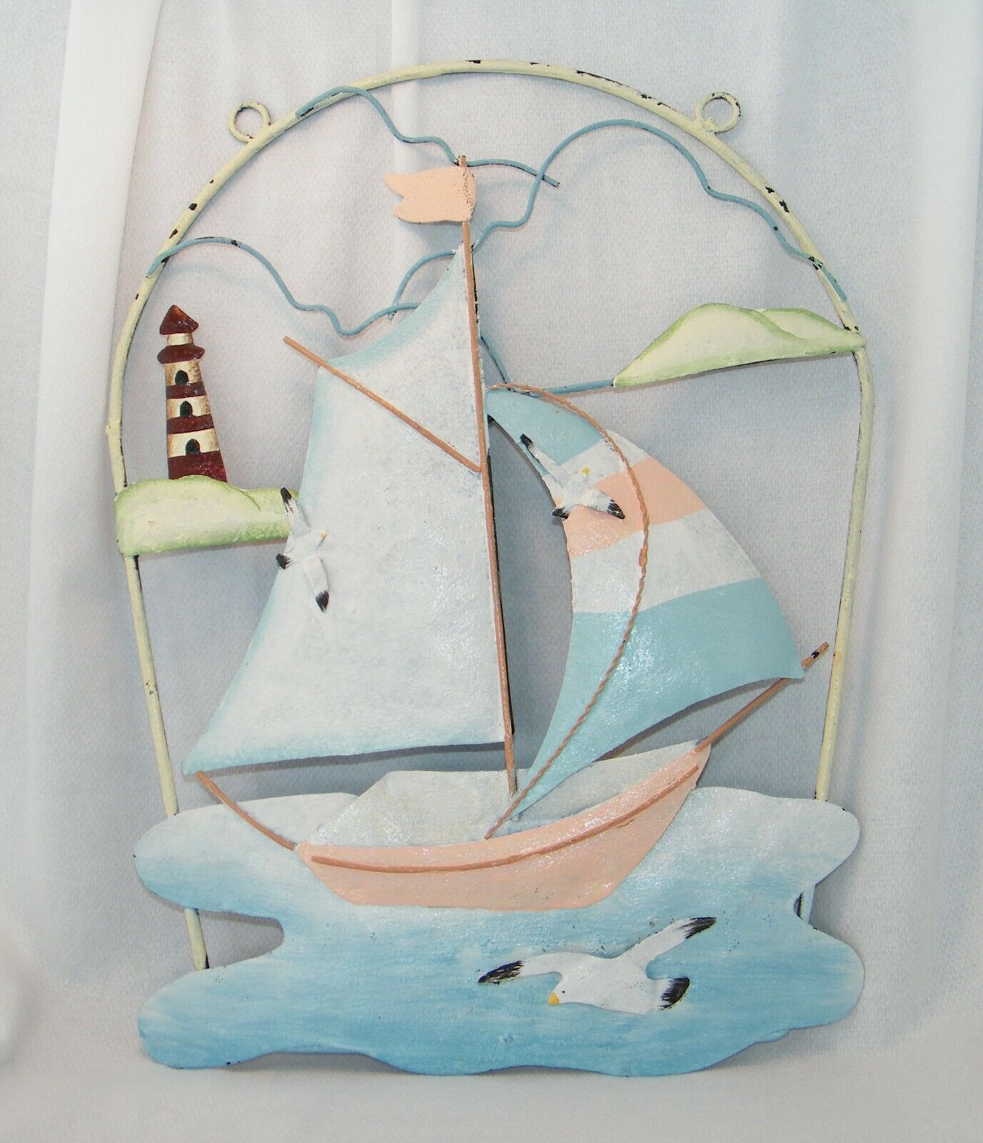 Metal WallArt Decor Sail Boat Lighthouse Seagull Coastal Beach Tropical Nautical