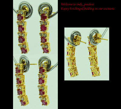 FASHION JEWELRY GEMS 14K YELLOW GOLD RED RUBY SAPPHIRE Dangle lady EARRINGS F851