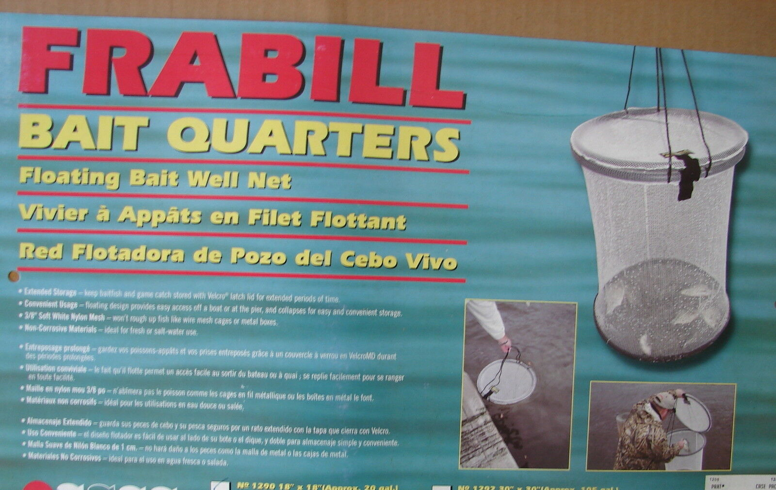 FRABILL 1290 Bait Quarters Floating Bait Well Net  18  x18  approx 20 Gallon New  save on clearance