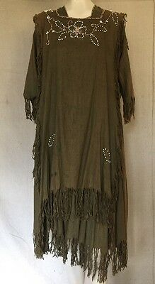 1920s 2pce Beaded Indian Dress Costume Native American Fringe Layered Vintage