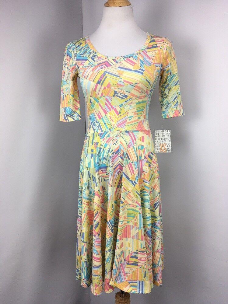 NWT NEW Lularoe Geometric all over print Nicole dress XS Pastel NEON Unicorn