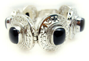 Black-925-Sterling-Silver-genuine-exquisite-Black-Onyx-regular-Bracelet-AU-gift