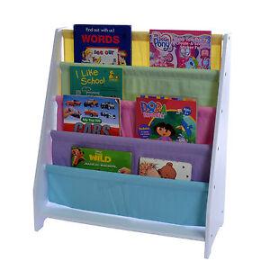 Childrens 4 Tier Canvas Book Stand Kids White Storage Bookcase Display Stand | eBay