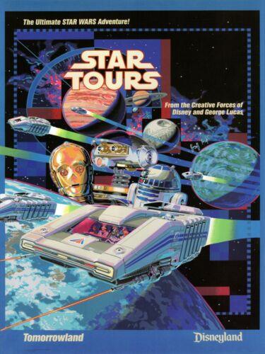 Vintage STAR TOURS 1986 Disneyland TOMORROWLAND Star Wars Print 18x24