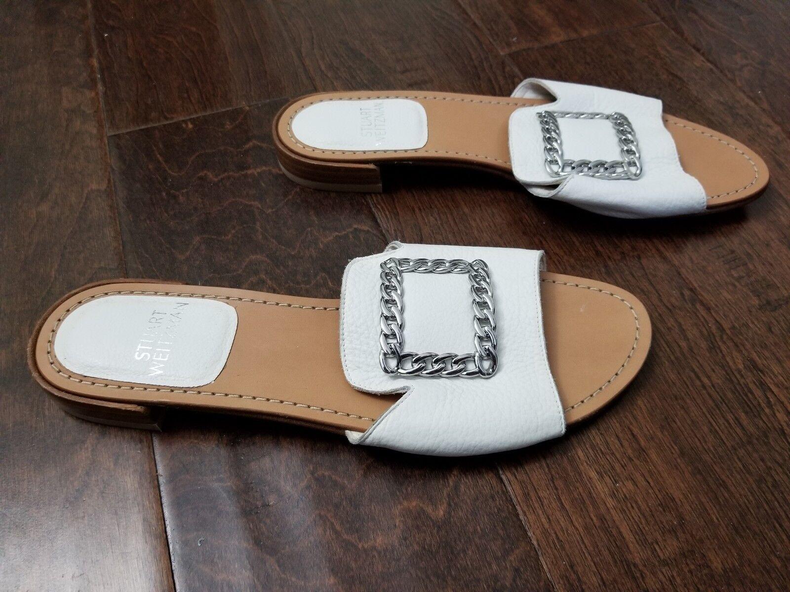 Nouveau Femmes Stuart Weitzman Weitzman Weitzman Cuir Avec Boucle Accent Diapositive Sandale Taille 8 1 2 M 103ab3