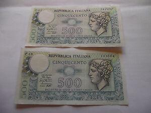 ITALY (ITALIA). ALMOST UNC 2 NOTES@ 500 LIRE (1979) - Dublin, Dublin, Ireland - ITALY (ITALIA). ALMOST UNC 2 NOTES@ 500 LIRE (1979) - Dublin, Dublin, Ireland