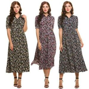 Women-039-s-Vintage-Style-Peter-Pan-Collar-Short-Sleeve-Floral-Print-Long-VILR