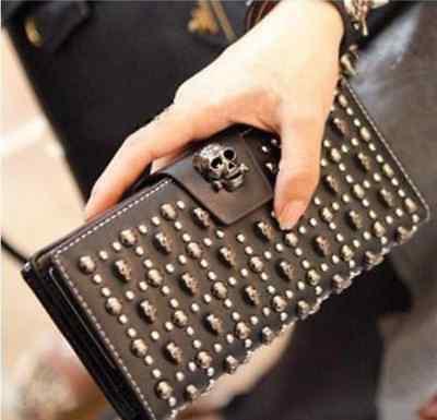 New Fashion Genuine Leather Skull Punk Ladies/ Women Purse / Wallet / Clutch