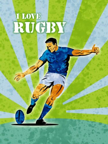 ART PRINT POSTER SPORT PROMOTIONAL RUGBY FOOTBALL KICK BALL LOVE LFMP0212