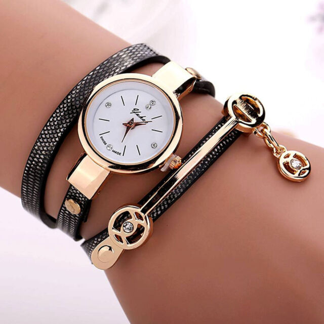 2016 Fashion Womens Ladies Watch Stainless Steel Leather Bracelet Wrist Watches