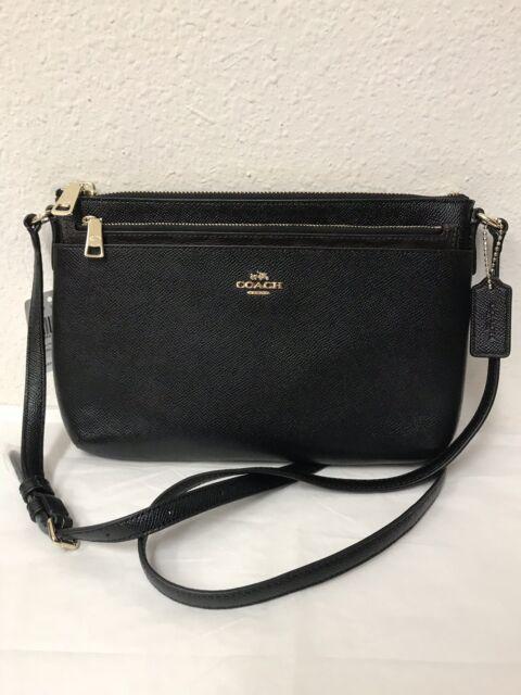 Nwt Coach Crossgrain Leather East West Pop Crossbody Bag F57788 Black
