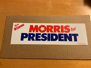 Vintage-1987-Morris-For-President-9-LIVES-CAT-Bumper-Sticker-Mint