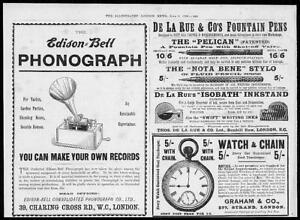 1899-Antique-Print-ADVERTISING-Edison-Bell-Phonograph-De-La-Rue-Pens-124
