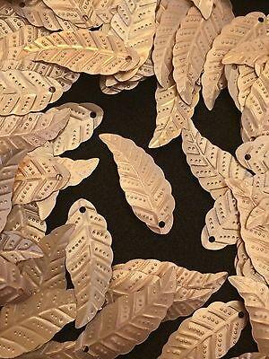 Sequins Leaf Leaves 28mm Matte Gold Long Metallic Exquisite Read Description