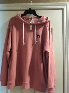 b0bddb08638 Image is loading NEW-Victoria-Secret-Pink-Antique-Pink-Hoodie-Longsleeve-