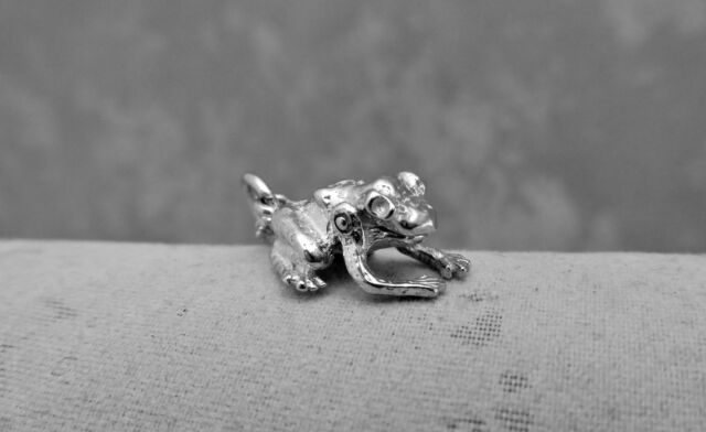 """Sterling Silver (925)  Solid 3D Charm """"Toad"""""""