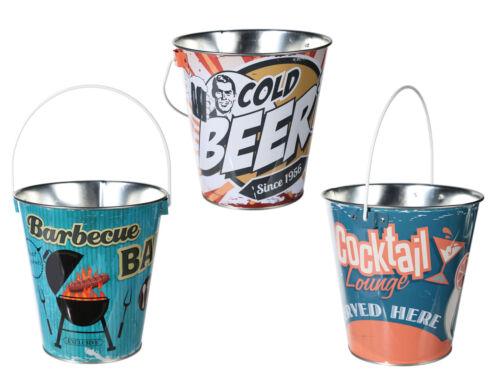 NEU Designs Vintage-Style versch Metall-Biereimer ohne Flaschenöffner