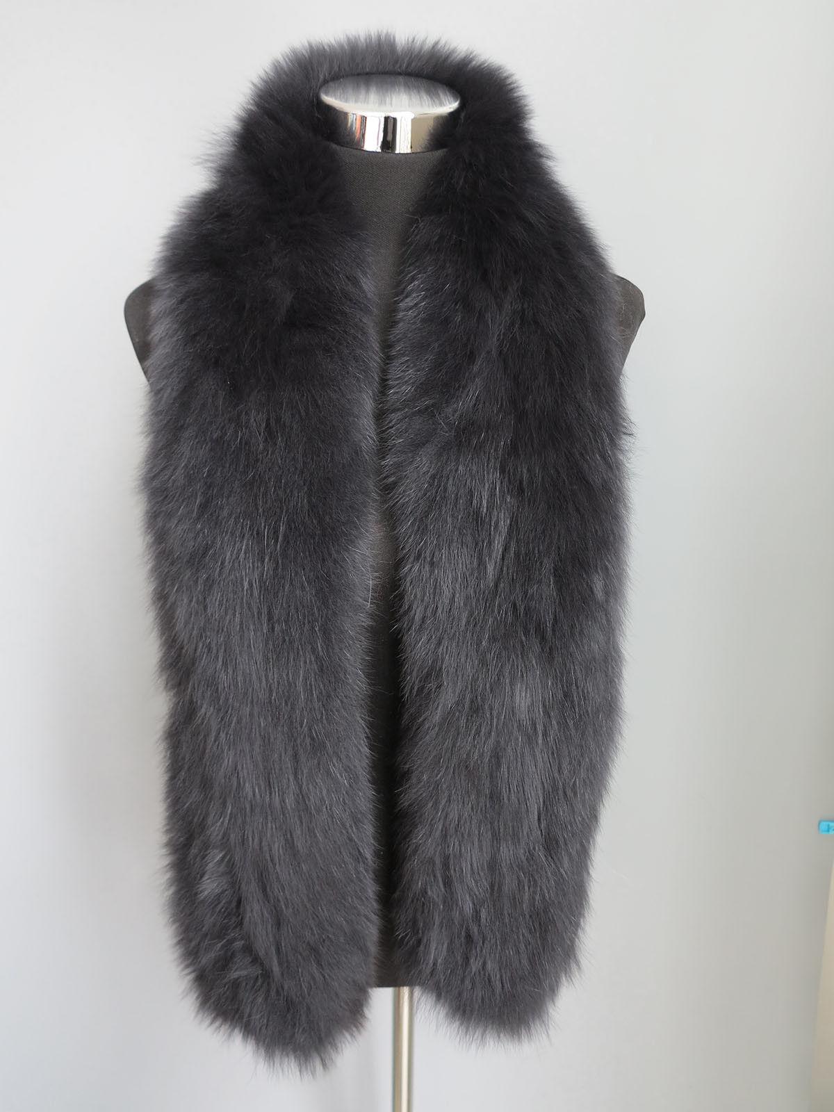 Braid 100% Genuine fox fur scarf /cape/ collar /wrap bl