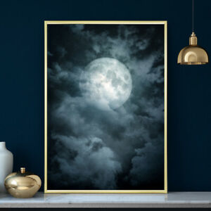 Cloudy Moon Wall Art Print Poster Bedroom Photograph Illustration  A4 A3 A2 A1