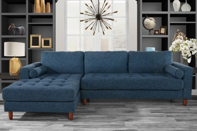 Classic Fabric Sectional Sofa, L-Shape Couch with Extra Wide Chaise, Dark  Blue