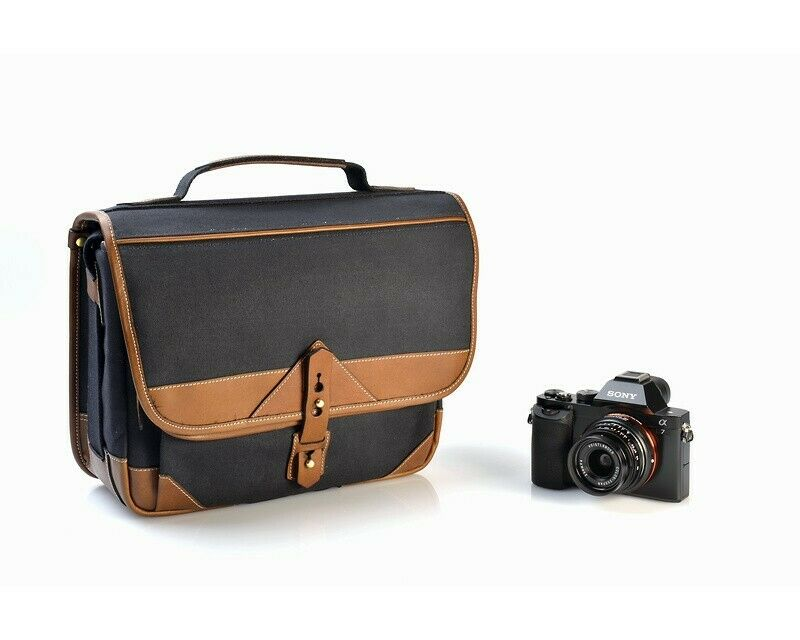 Fogg B-Sharp Satchel Camera Bag Black Fabric with Havana Leather