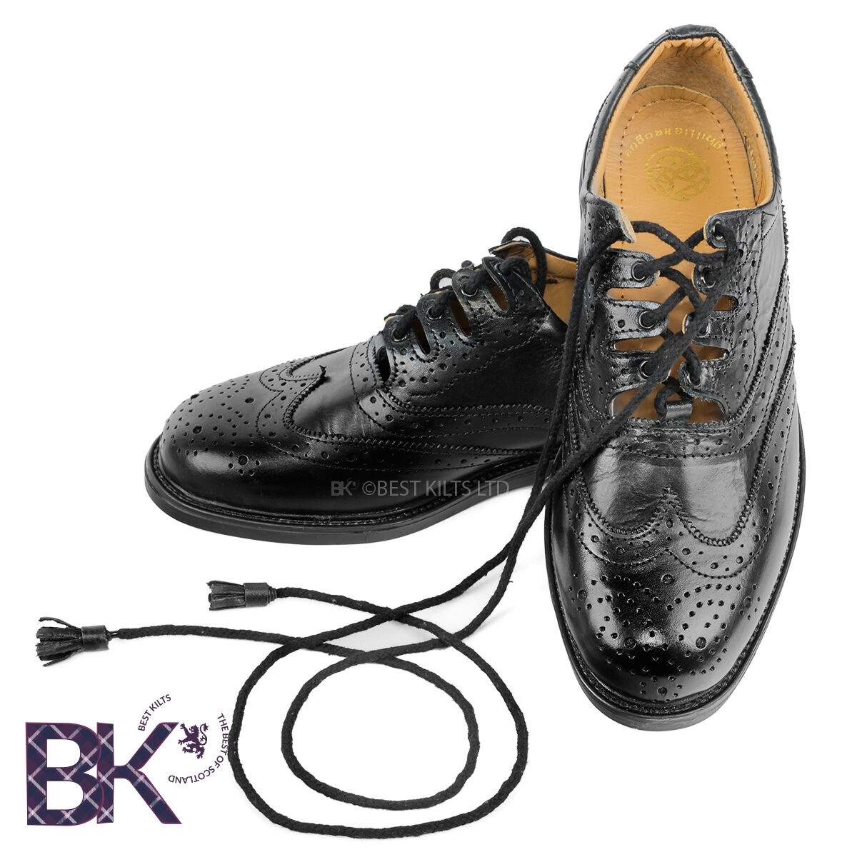 Mens Scottish Leather Ghillie Brogues, kilt schuhe Größes 7  - 12  + Kilt Socks