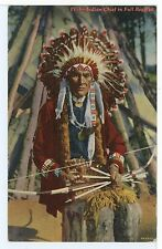 Chippewa Indian Chief in Full Regalia BOW & ARROWS Headdress Vintage ca. 1940s
