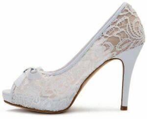 Wedding Sandals For Bride.Details About Women Open Toe Bow Platform Stiletto Heels Lace Wedding Shoes Bride Sandals Pump