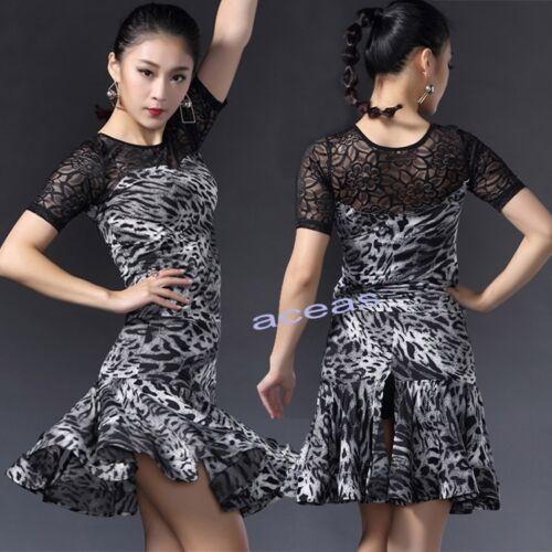 Adult Leopard Latin Dance Dress Suits Performance Tops Skirts Ballroom Dancewear