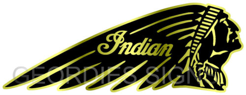 RIGHT 130MM X 50MM GOLD INDIAN MOTORCYCLE STICKER DECAL RETRO