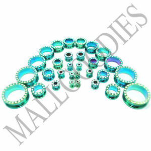 V047-Surgical-Steel-Screw-on-fit-Green-CZ-Flesh-Tunnels-Ear-Plugs-10G-to-1-034