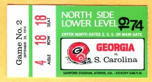 CLASSIC 1974 FOOTBALL TICKET STUB-9/28/74-GEORGIA/SOUTH ...