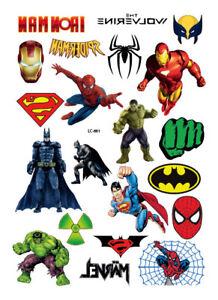 59bd28f9d BUY 2 GET 1 FREE Batman Spiderman Superman Temporary Tattoo Sticker ...