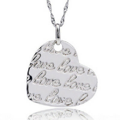 Heart With Wort 'love' Love Necklace With Pendant 925 Sterling Silver Reliable Performance Precious Metal Without Stones