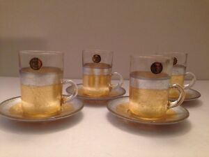 New-Set-Of-4-Demitasse-Cups-And-Saucers-Glass-Gold-And-Silver-Leaf-Made-In-Italy